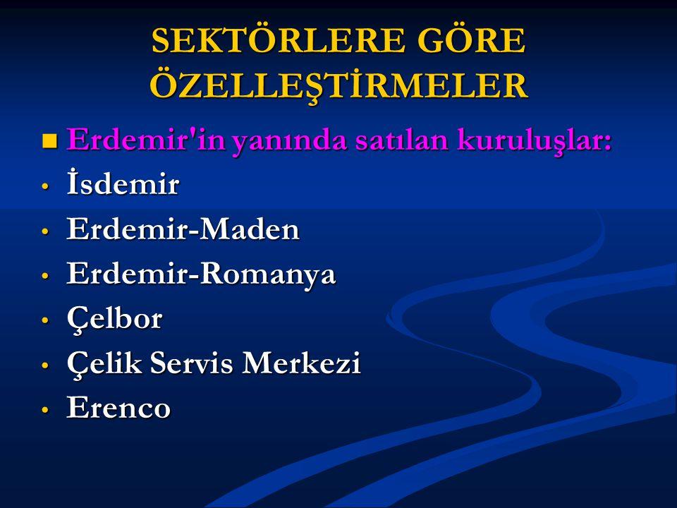 SEKTÖRLERE GÖRE ÖZELLEŞTİRMELER Erdemir'in yanında satılan kuruluşlar: Erdemir'in yanında satılan kuruluşlar: İsdemir İsdemir Erdemir-Maden Erdemir-Ma