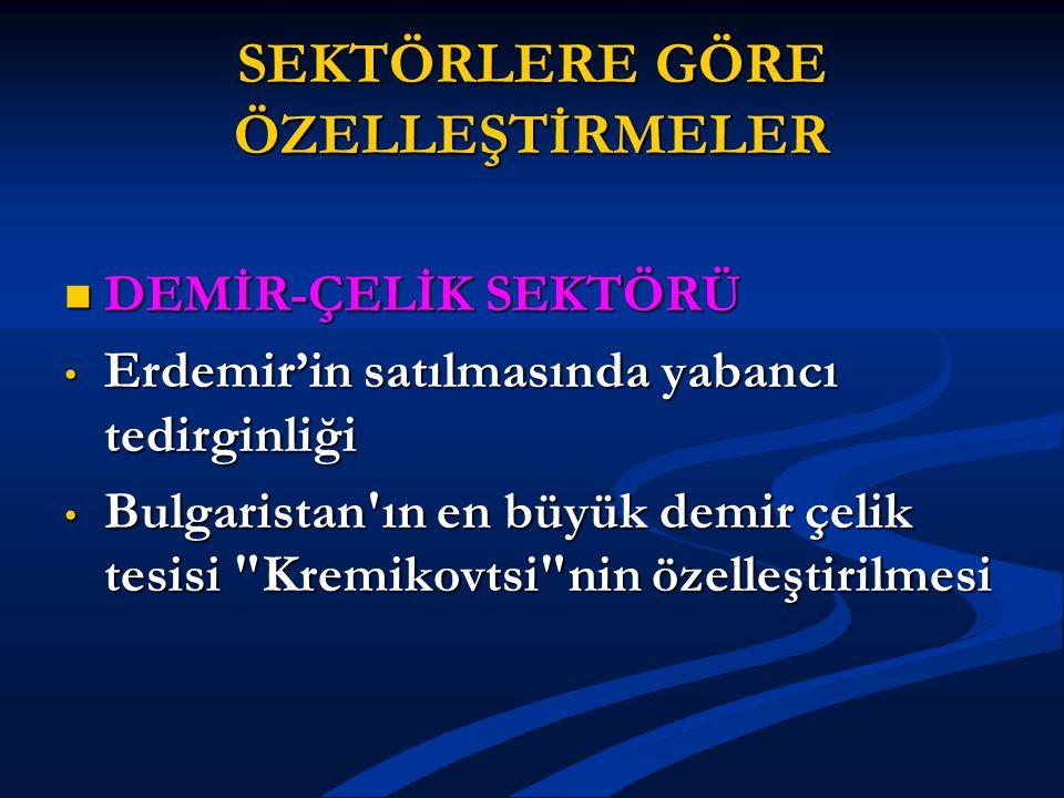 SEKTÖRLERE GÖRE ÖZELLEŞTİRMELER DEMİR-ÇELİK SEKTÖRÜ DEMİR-ÇELİK SEKTÖRÜ Erdemir'in satılmasında yabancı tedirginliği Erdemir'in satılmasında yabancı t