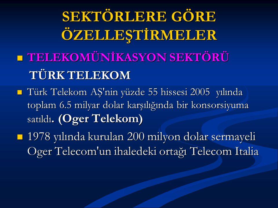 SEKTÖRLERE GÖRE ÖZELLEŞTİRMELER TELEKOMÜNİKASYON SEKTÖRÜ TELEKOMÜNİKASYON SEKTÖRÜ TÜRK TELEKOM TÜRK TELEKOM Türk Telekom AŞ'nin yüzde 55 hissesi 2005
