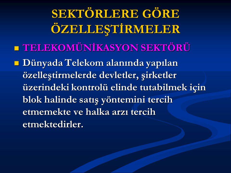SEKTÖRLERE GÖRE ÖZELLEŞTİRMELER TELEKOMÜNİKASYON SEKTÖRÜ TELEKOMÜNİKASYON SEKTÖRÜ Dünyada Telekom alanında yapılan özelleştirmelerde devletler, şirket