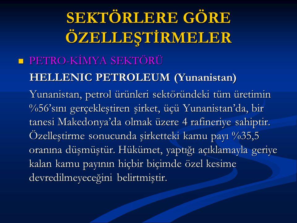 SEKTÖRLERE GÖRE ÖZELLEŞTİRMELER PETRO-KİMYA SEKTÖRÜ PETRO-KİMYA SEKTÖRÜ HELLENIC PETROLEUM (Yunanistan) HELLENIC PETROLEUM (Yunanistan) Yunanistan, petrol ürünleri sektöründeki tüm üretimin %56'sını gerçekleştiren şirket, üçü Yunanistan'da, bir tanesi Makedonya'da olmak üzere 4 rafineriye sahiptir.