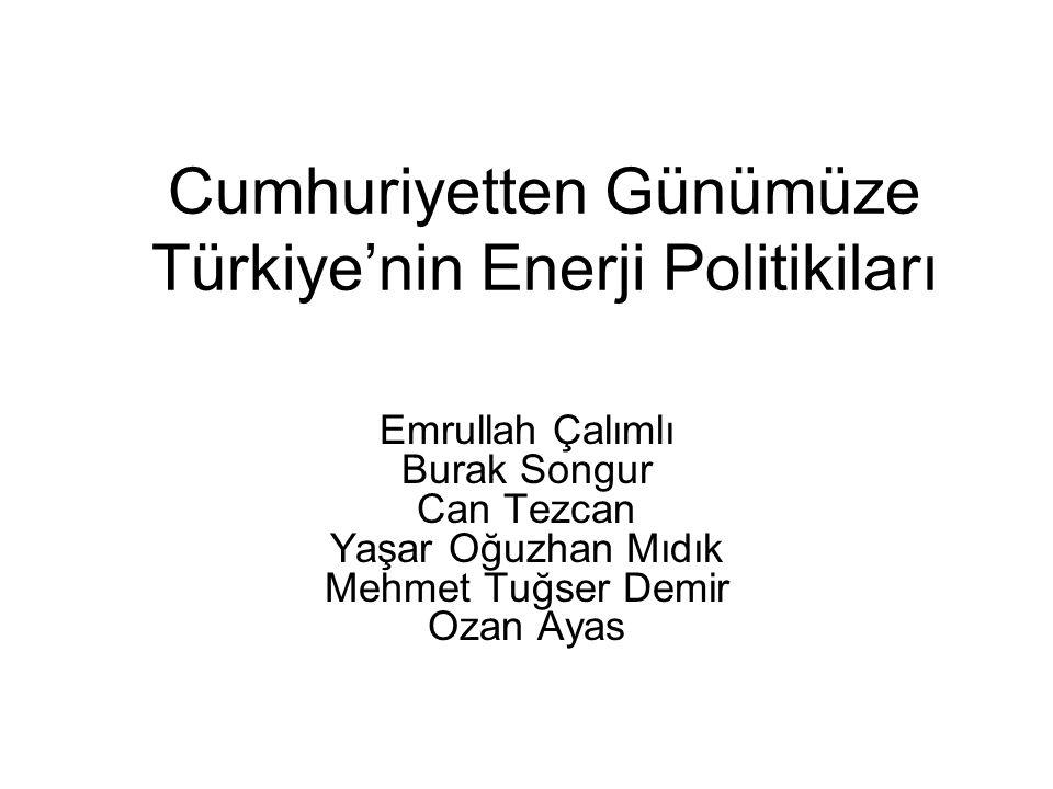 Cumhuriyetten Günümüze Türkiye'nin Enerji Politikiları Emrullah Çalımlı Burak Songur Can Tezcan Yaşar Oğuzhan Mıdık Mehmet Tuğser Demir Ozan Ayas
