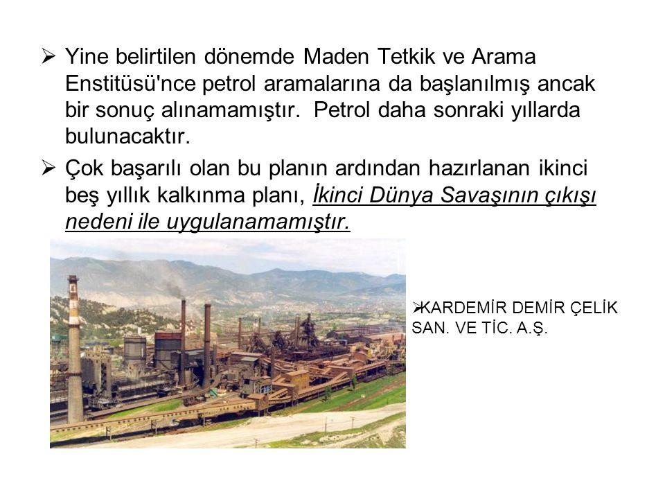  Yine belirtilen dönemde Maden Tetkik ve Arama Enstitüsü nce petrol aramalarına da başlanılmış ancak bir sonuç alınamamıştır.
