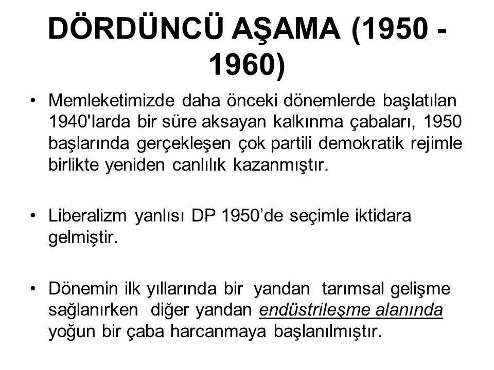 DÖRDÜNCÜ AŞAMA (1950 - 1960) Memleketimizde daha önceki dönemlerde başlatılan 1940 Iarda bir süre aksayan kalkınma çabaları, 1950 başlarında gerçekleşen çok partili demokratik rejimle birlikte yeniden canlılık kazanmıştır.