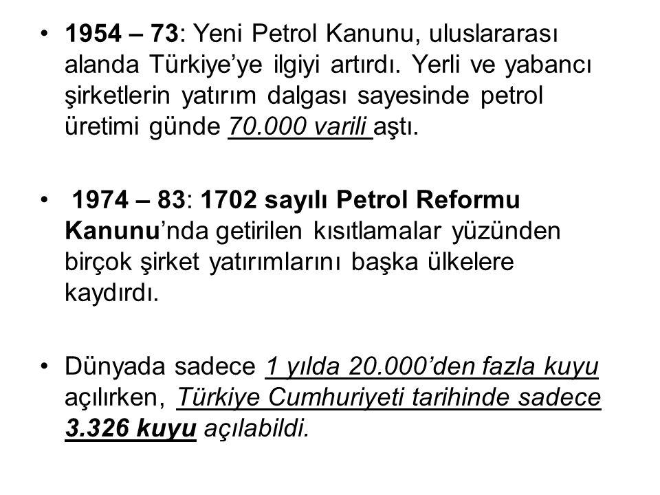 1954 – 73: Yeni Petrol Kanunu, uluslararası alanda Türkiye'ye ilgiyi artırdı. Yerli ve yabancı şirketlerin yatırım dalgası sayesinde petrol üretimi gü