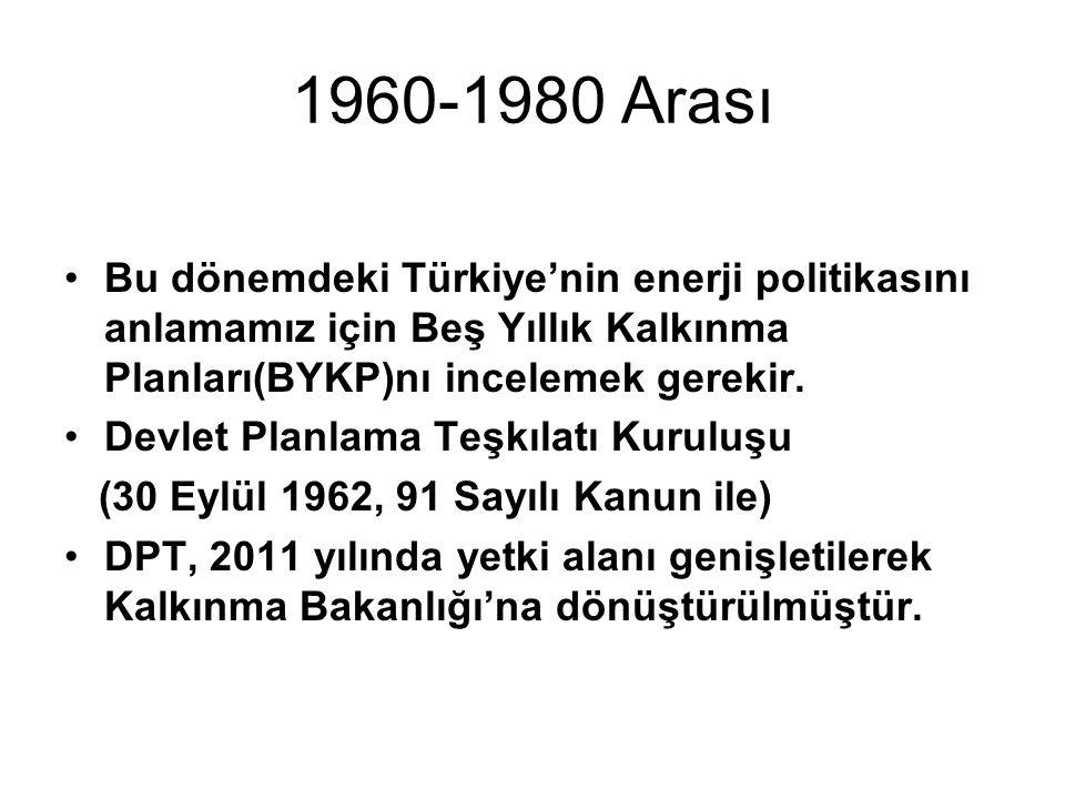 1960-1980 Arası Bu dönemdeki Türkiye'nin enerji politikasını anlamamız için Beş Yıllık Kalkınma Planları(BYKP)nı incelemek gerekir. Devlet Planlama Te