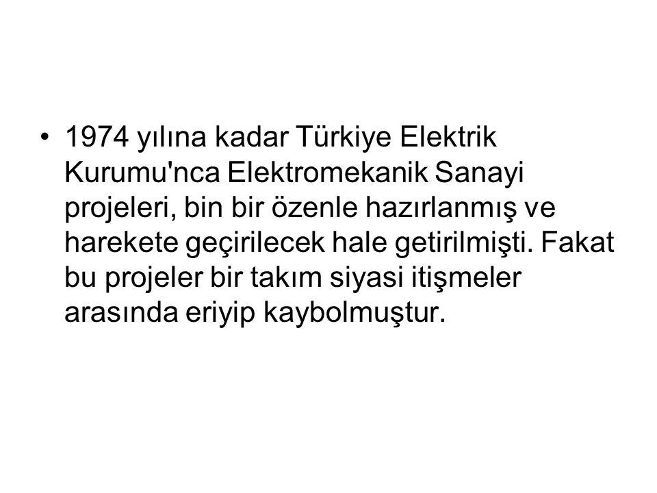 1974 yılına kadar Türkiye Elektrik Kurumu'nca Elektromekanik Sanayi projeleri, bin bir özenle hazırlanmış ve harekete geçirilecek hale getirilmişti. F