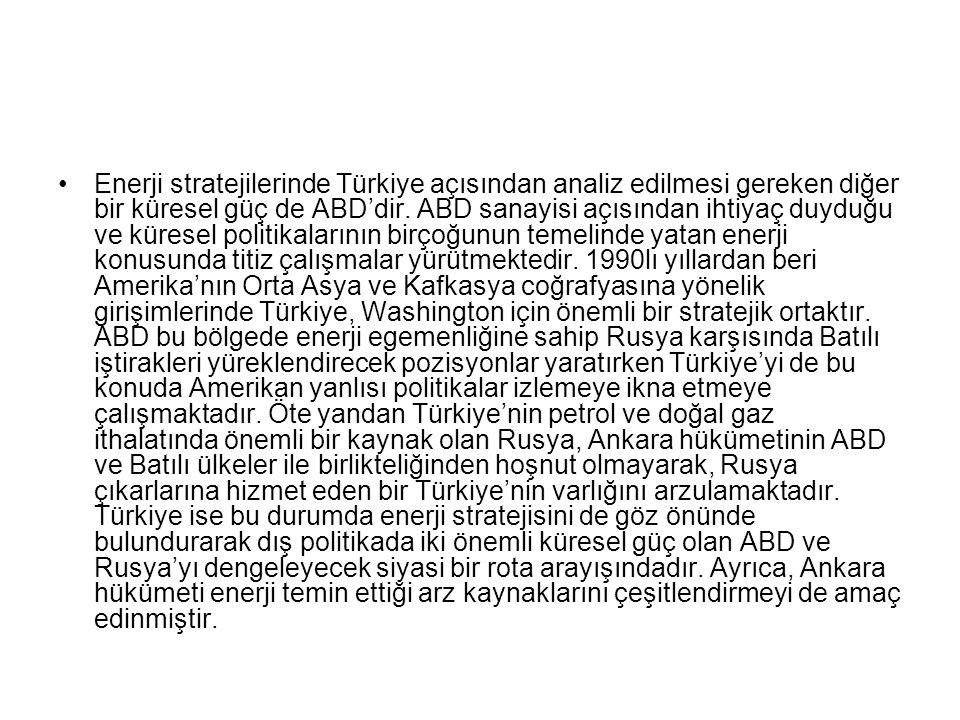 Enerji stratejilerinde Türkiye açısından analiz edilmesi gereken diğer bir küresel güç de ABD'dir. ABD sanayisi açısından ihtiyaç duyduğu ve küresel p