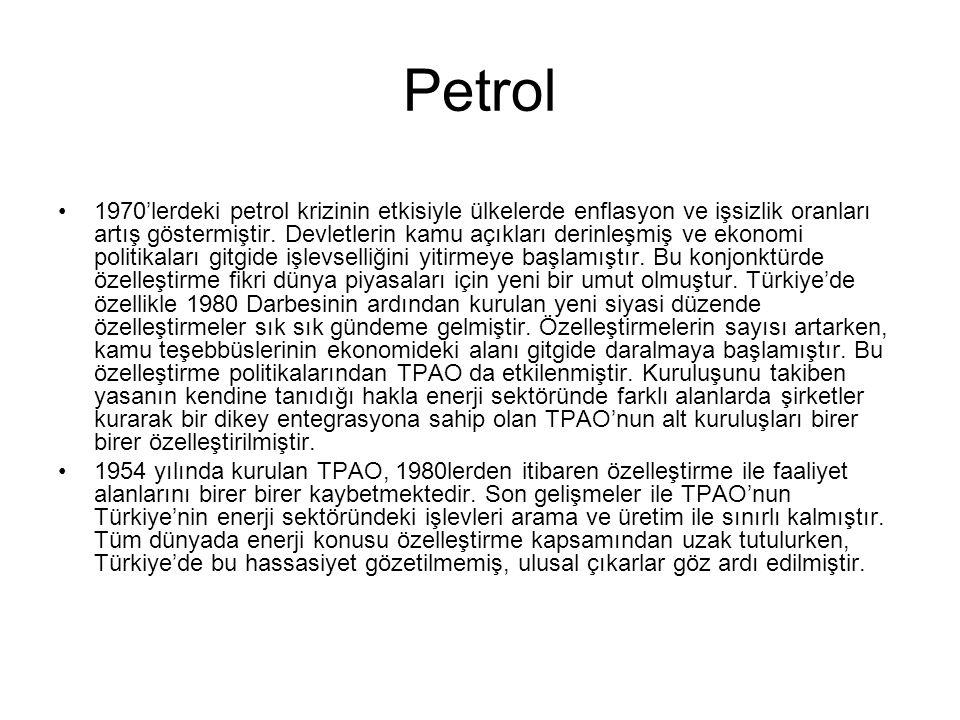 Petrol 1970'lerdeki petrol krizinin etkisiyle ülkelerde enflasyon ve işsizlik oranları artış göstermiştir.