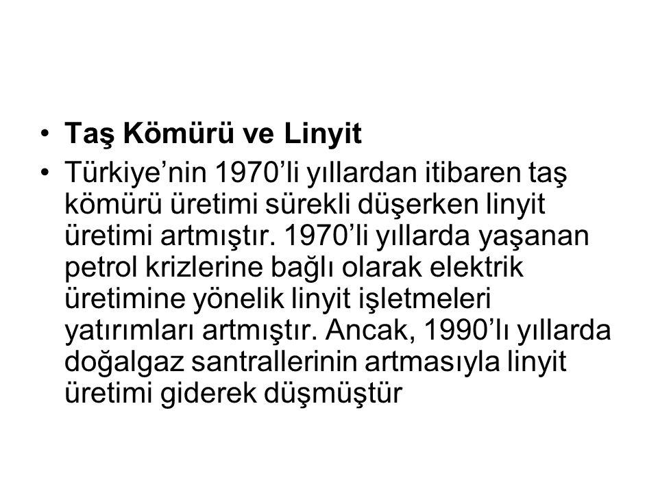Taş Kömürü ve Linyit Türkiye'nin 1970'li yıllardan itibaren taş kömürü üretimi sürekli düşerken linyit üretimi artmıştır. 1970'li yıllarda yaşanan pet