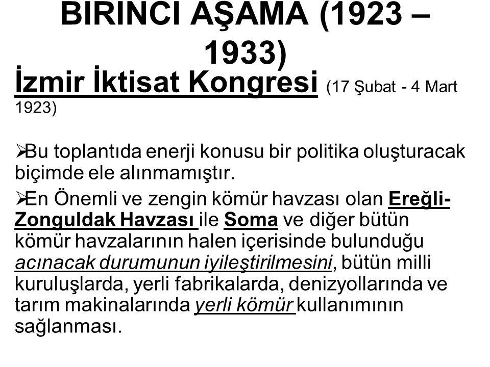 BİRİNCİ AŞAMA (1923 – 1933) İzmir İktisat Kongresi (17 Şubat - 4 Mart 1923)  Bu toplantıda enerji konusu bir politika oluşturacak biçimde ele alınmamıştır.