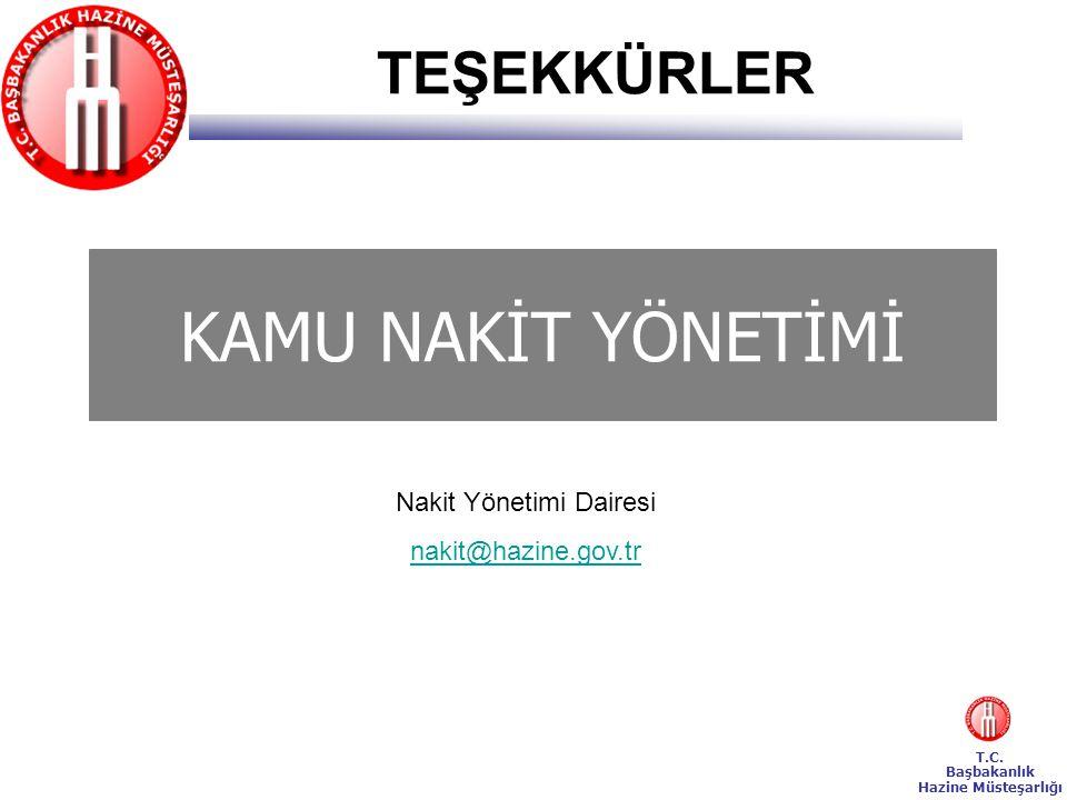 T.C. Başbakanlık Hazine Müsteşarlığı KAMU NAKİT YÖNETİMİ Nakit Yönetimi Dairesi nakit@hazine.gov.tr TEŞEKKÜRLER
