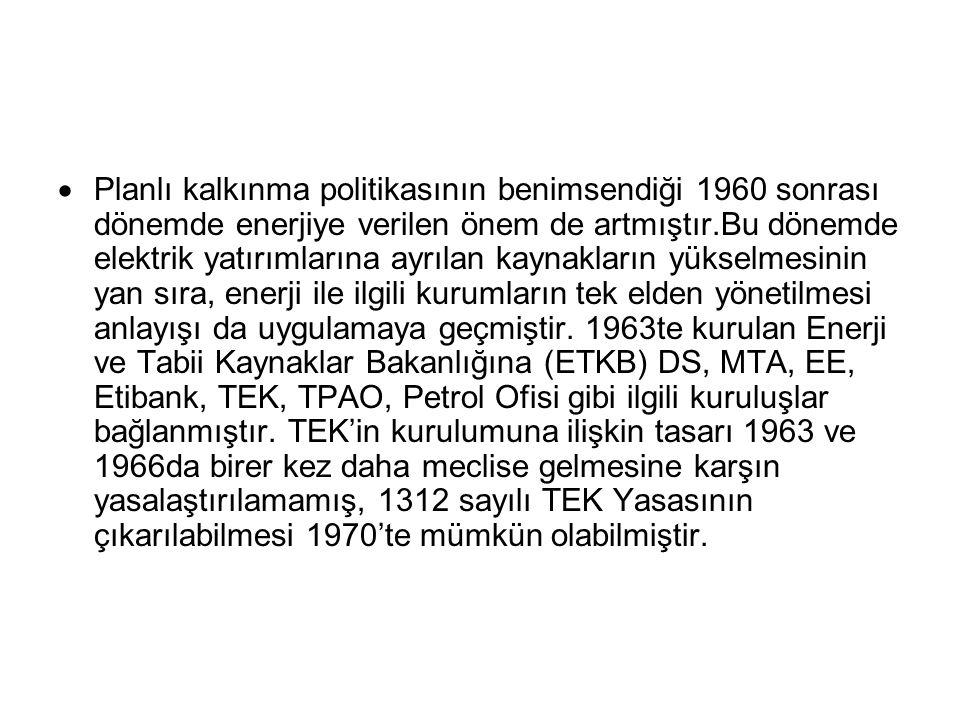  Planlı kalkınma politikasının benimsendiği 1960 sonrası dönemde enerjiye verilen önem de artmıştır.Bu dönemde elektrik yatırımlarına ayrılan kaynakl