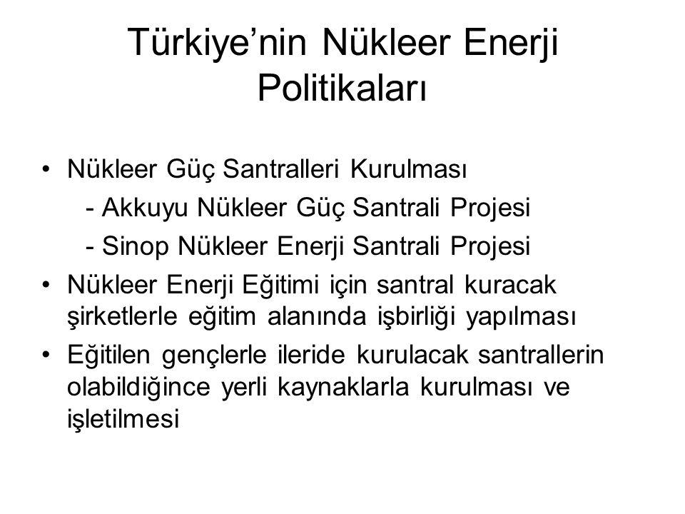 Türkiye'nin Nükleer Enerji Politikaları Nükleer Güç Santralleri Kurulması - Akkuyu Nükleer Güç Santrali Projesi - Sinop Nükleer Enerji Santrali Projes