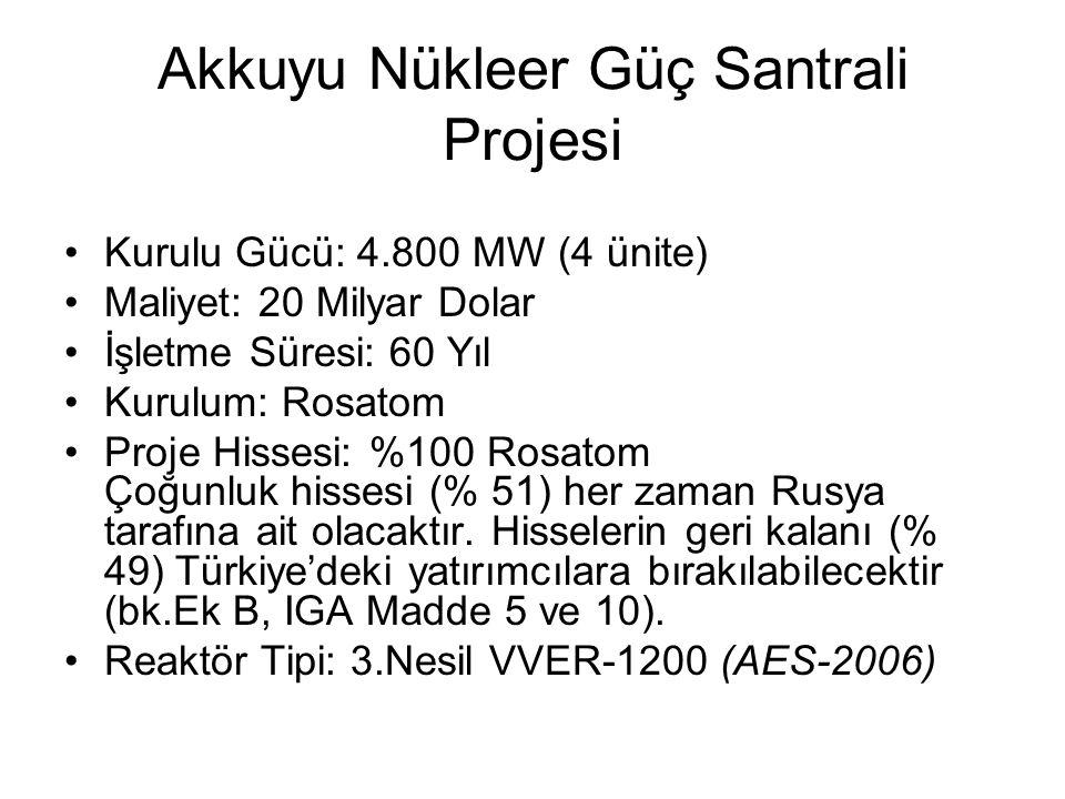 Sinop Nükleer Güç Santrali Projesi Kurulu Gücü: 4.400 MW (4 ünite) Maliyet: 22 Milyar Dolar Firmalar: Japon – Fransız Konsorsiyumu - Mitsubishi Heavy Industries Ltd.