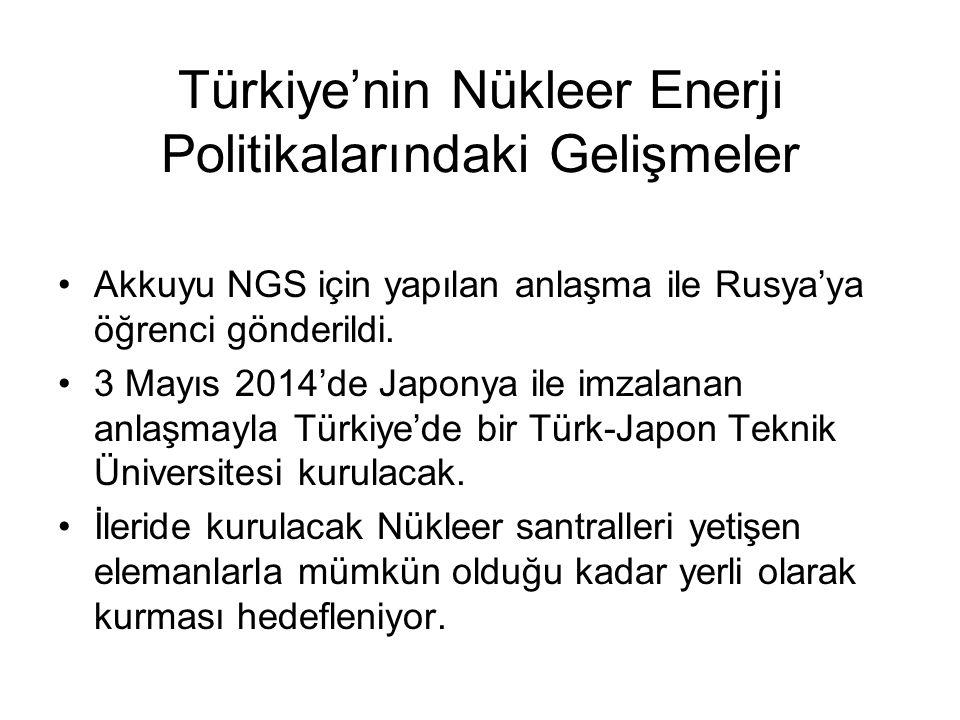 Türkiye'nin Nükleer Enerji Politikalarındaki Gelişmeler Akkuyu NGS için yapılan anlaşma ile Rusya'ya öğrenci gönderildi. 3 Mayıs 2014'de Japonya ile i