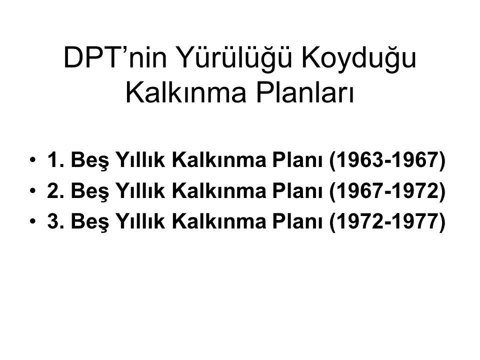 DPT'nin Yürülüğü Koyduğu Kalkınma Planları 1. Beş Yıllık Kalkınma Planı (1963-1967) 2. Beş Yıllık Kalkınma Planı (1967-1972) 3. Beş Yıllık Kalkınma Pl