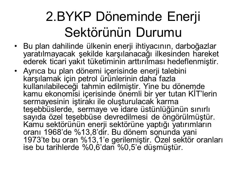 2.BYKP Döneminde Enerji Sektörünün Durumu Bu plan dahilinde ülkenin enerji ihtiyacının, darboğazlar yaratılmayacak şekilde karşılanacağı ilkesinden ha