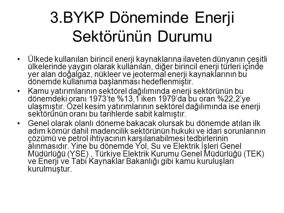 3.BYKP Döneminde Enerji Sektörünün Durumu Ülkede kullanılan birincil enerji kaynaklarına ilaveten dünyanın çeşitli ülkelerinde yaygın olarak kullanıla