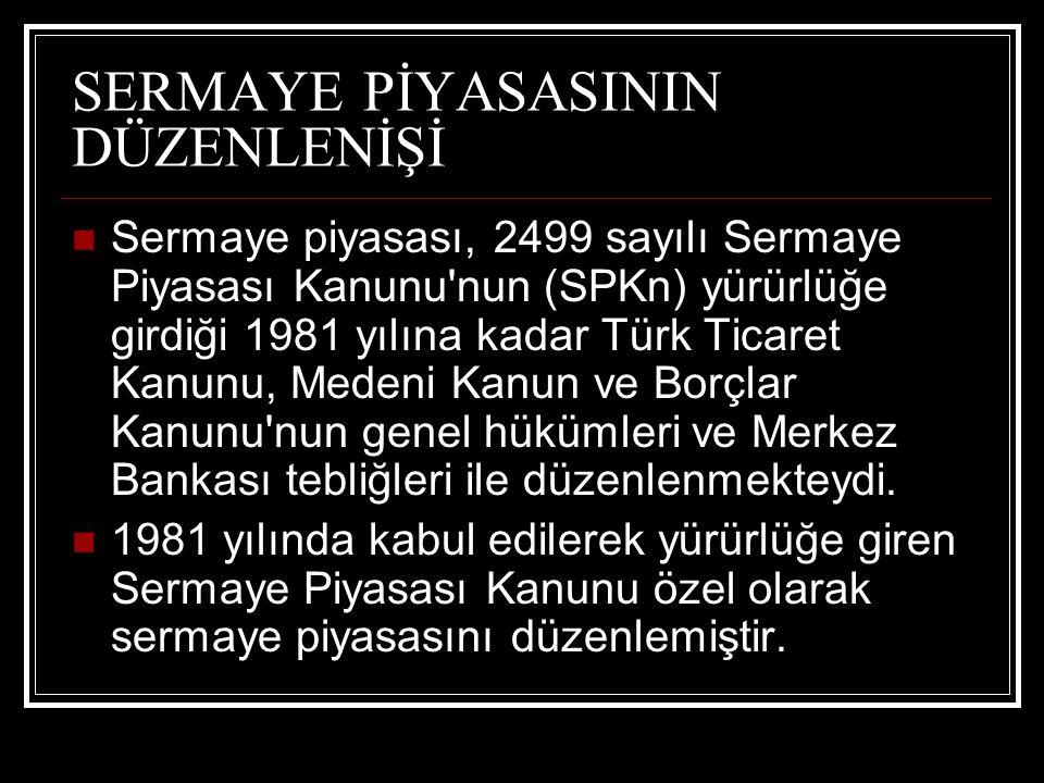 SERMAYE PİYASASININ DÜZENLENİŞİ Sermaye piyasası, 2499 sayılı Sermaye Piyasası Kanunu'nun (SPKn) yürürlüğe girdiği 1981 yılına kadar Türk Ticaret Kanu