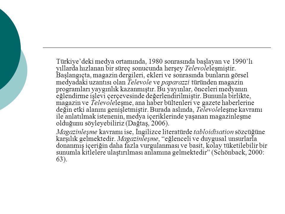 Türkiye'deki medya ortamında, 1980 sonrasında başlayan ve 1990'lı yıllarda hızlanan bir süreç sonucunda herşey Televoleleşmiştir. Başlangıçta, magazin