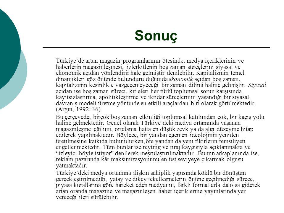 Sonuç Türkiye'de artan magazin programlarının ötesinde, medya içeriklerinin ve haberlerin magazinleşmesi, izlerkitlenin boş zaman süreçlerini siyasal