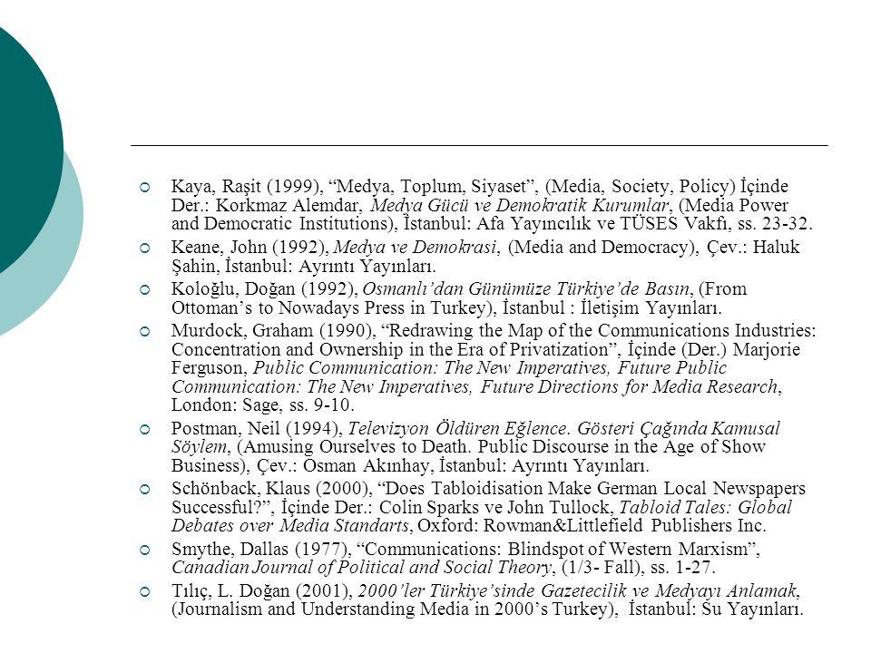 """ Kaya, Raşit (1999), """"Medya, Toplum, Siyaset"""", (Media, Society, Policy) İçinde Der.: Korkmaz Alemdar, Medya Gücü ve Demokratik Kurumlar, (Media Power"""