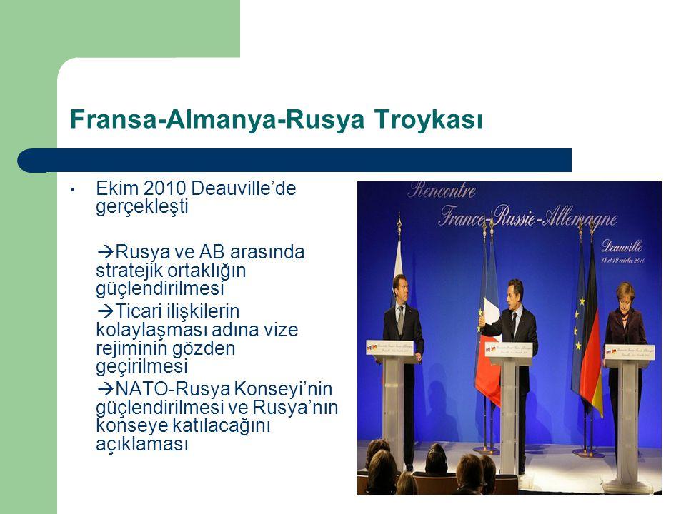 Fransa-Almanya-Rusya Troykası Ekim 2010 Deauville'de gerçekleşti  Rusya ve AB arasında stratejik ortaklığın güçlendirilmesi  Ticari ilişkilerin kolaylaşması adına vize rejiminin gözden geçirilmesi  NATO-Rusya Konseyi'nin güçlendirilmesi ve Rusya'nın konseye katılacağını açıklaması
