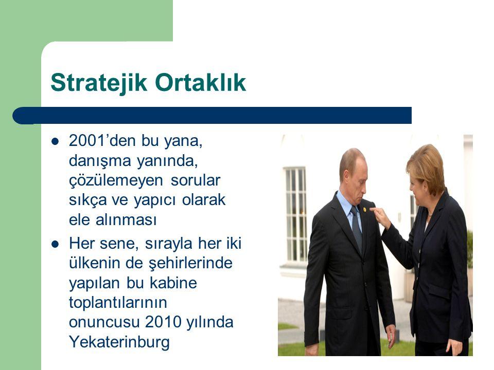 Stratejik Ortaklık 2001'den bu yana, danışma yanında, çözülemeyen sorular sıkça ve yapıcı olarak ele alınması Her sene, sırayla her iki ülkenin de şehirlerinde yapılan bu kabine toplantılarının onuncusu 2010 yılında Yekaterinburg