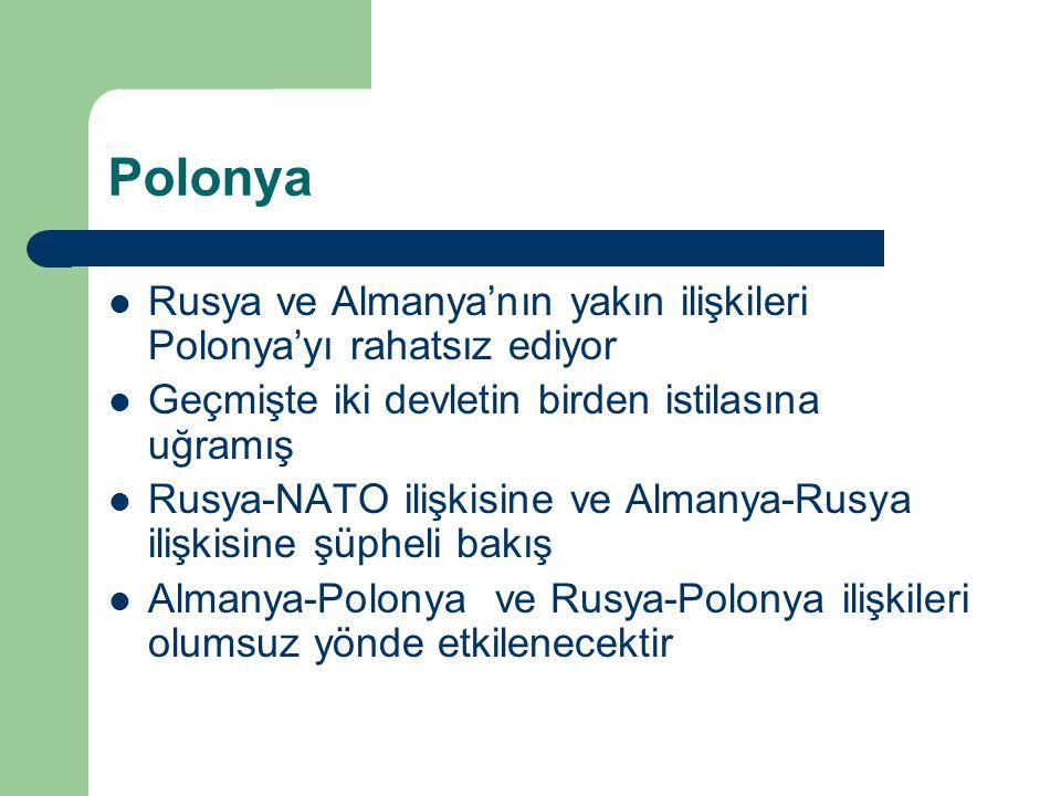 Polonya Rusya ve Almanya'nın yakın ilişkileri Polonya'yı rahatsız ediyor Geçmişte iki devletin birden istilasına uğramış Rusya-NATO ilişkisine ve Almanya-Rusya ilişkisine şüpheli bakış Almanya-Polonya ve Rusya-Polonya ilişkileri olumsuz yönde etkilenecektir