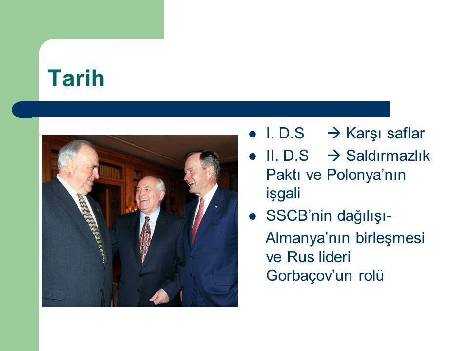 Tarih I. D.S  Karşı saflar II. D.S  Saldırmazlık Paktı ve Polonya'nın işgali SSCB'nin dağılışı- Almanya'nın birleşmesi ve Rus lideri Gorbaçov'un rol