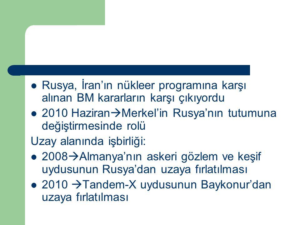 Rusya, İran'ın nükleer programına karşı alınan BM kararların karşı çıkıyordu 2010 Haziran  Merkel'in Rusya'nın tutumuna değiştirmesinde rolü Uzay alanında işbirliği: 2008  Almanya'nın askeri gözlem ve keşif uydusunun Rusya'dan uzaya fırlatılması 2010  Tandem-X uydusunun Baykonur'dan uzaya fırlatılması