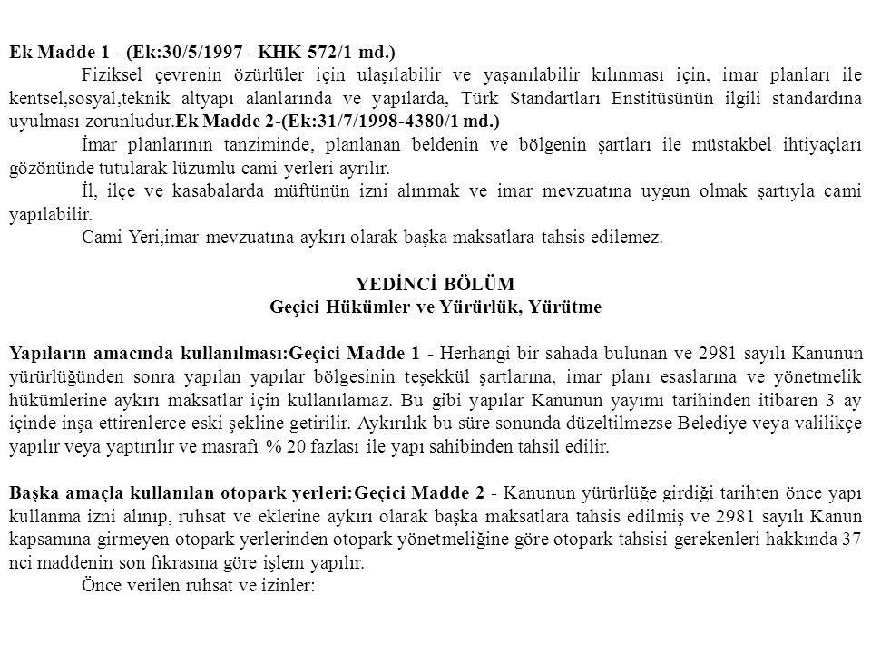 Ek Madde 1 - (Ek:30/5/1997 - KHK-572/1 md.) Fiziksel çevrenin özürlüler için ulaşılabilir ve yaşanılabilir kılınması için, imar planları ile kentsel,s