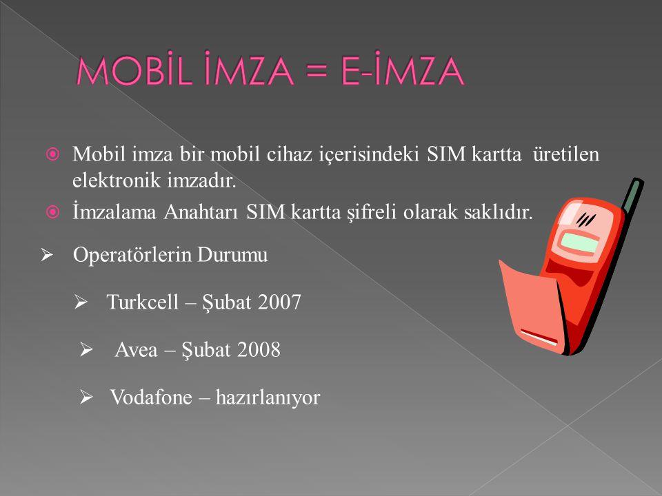  Mobil imza bir mobil cihaz içerisindeki SIM kartta üretilen elektronik imzadır.  İmzalama Anahtarı SIM kartta şifreli olarak saklıdır.  Operatörle