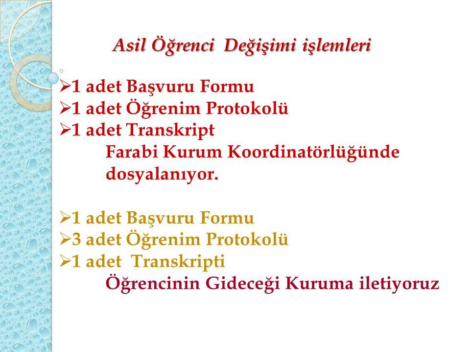  1 adet Başvuru Formu  1 adet Öğrenim Protokolü  1 adet Transkript Farabi Kurum Koordinatörlüğünde dosyalanıyor.