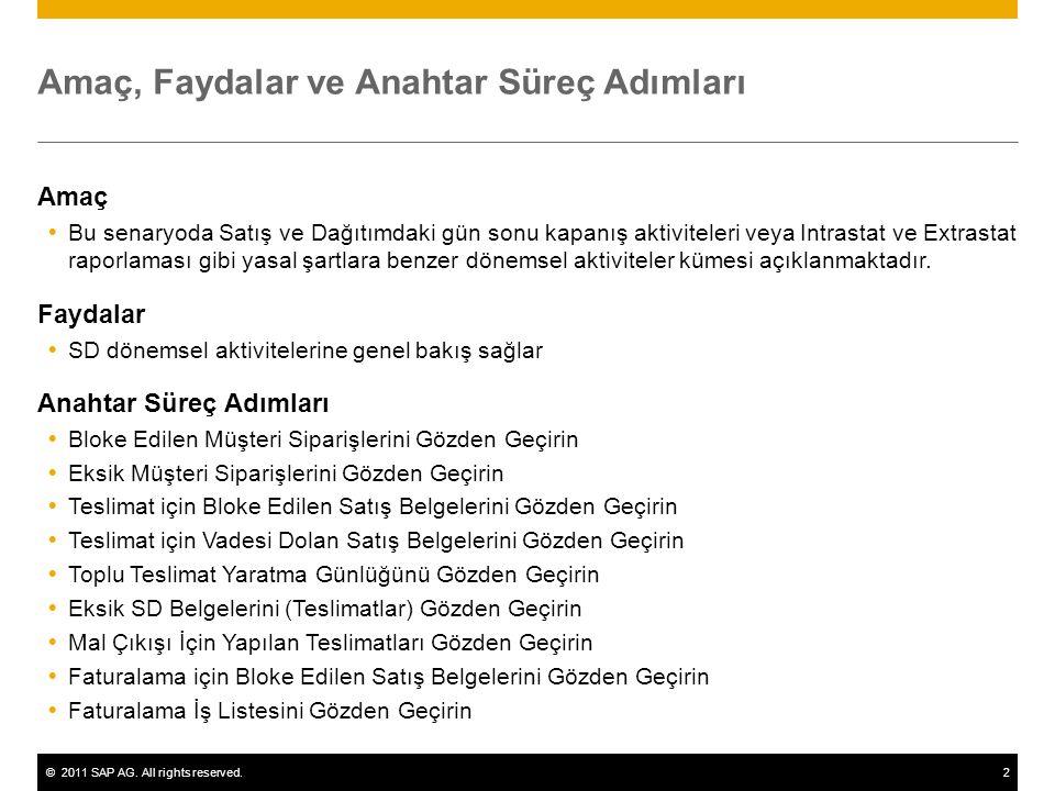 ©2011 SAP AG. All rights reserved.2 Amaç, Faydalar ve Anahtar Süreç Adımları Amaç  Bu senaryoda Satış ve Dağıtımdaki gün sonu kapanış aktiviteleri ve