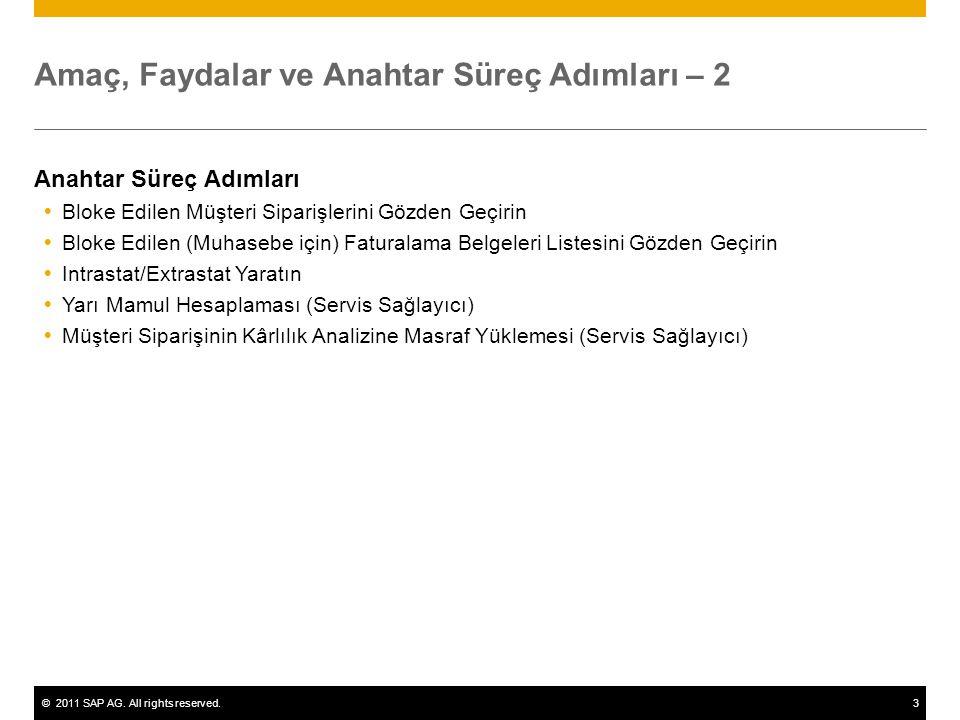 ©2011 SAP AG. All rights reserved.3 Amaç, Faydalar ve Anahtar Süreç Adımları – 2 Anahtar Süreç Adımları  Bloke Edilen Müşteri Siparişlerini Gözden Ge