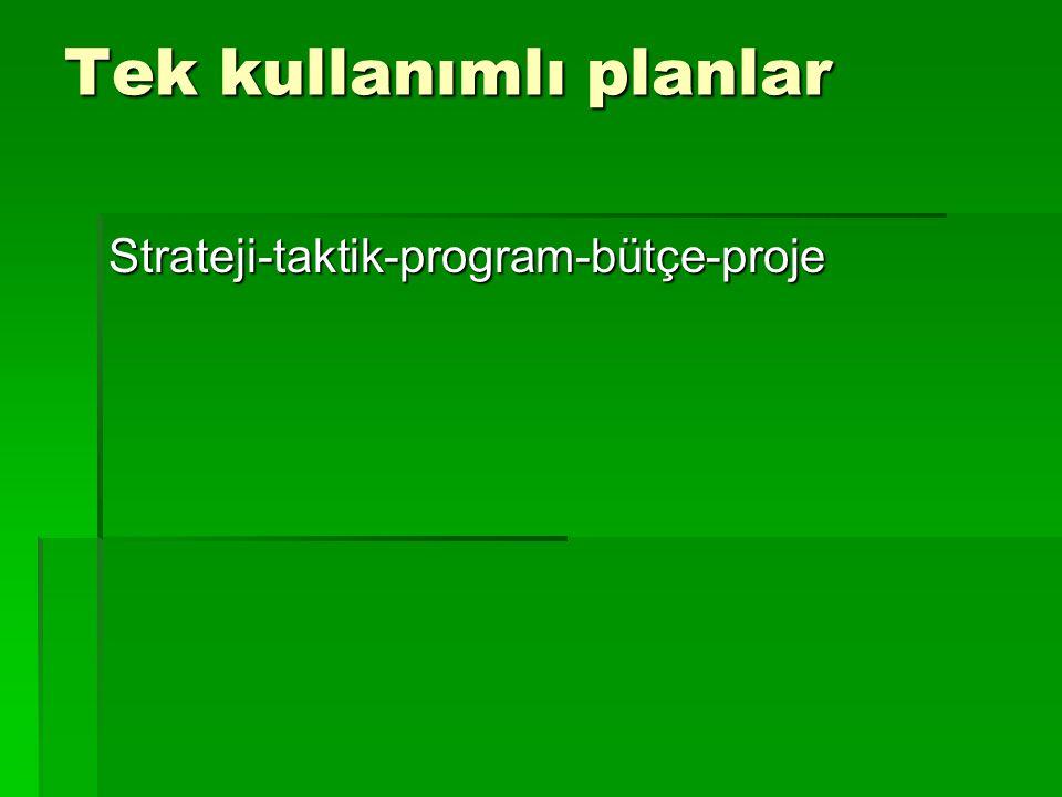 Tek kullanımlı planlar Strateji-taktik-program-bütçe-proje