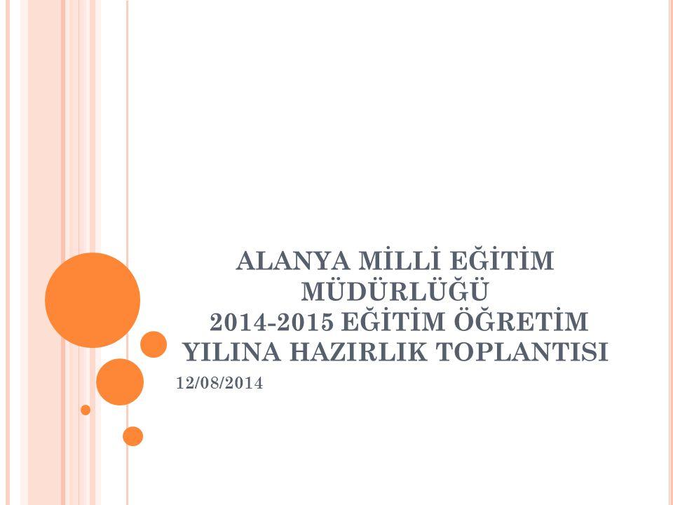 ALANYA MİLLİ EĞİTİM MÜDÜRLÜĞÜ 2014-2015 EĞİTİM ÖĞRETİM YILINA HAZIRLIK TOPLANTISI 12/08/2014