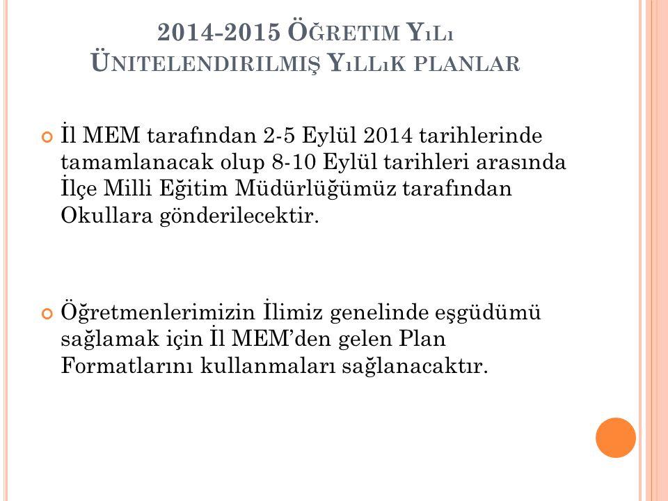 2014-2015 Ö ĞRETIM Y ıLı Ü NITELENDIRILMIŞ Y ıLLıK PLANLAR İl MEM tarafından 2-5 Eylül 2014 tarihlerinde tamamlanacak olup 8-10 Eylül tarihleri arasın