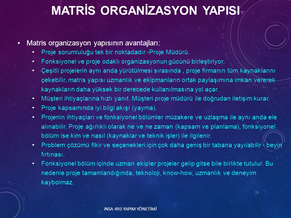 Matris organizasyon yapısının avantajları: Proje sorumluluğu tek bir noktadadır -Proje Müdürü. Fonksiyonel ve proje odaklı organizasyonun gücünü birle
