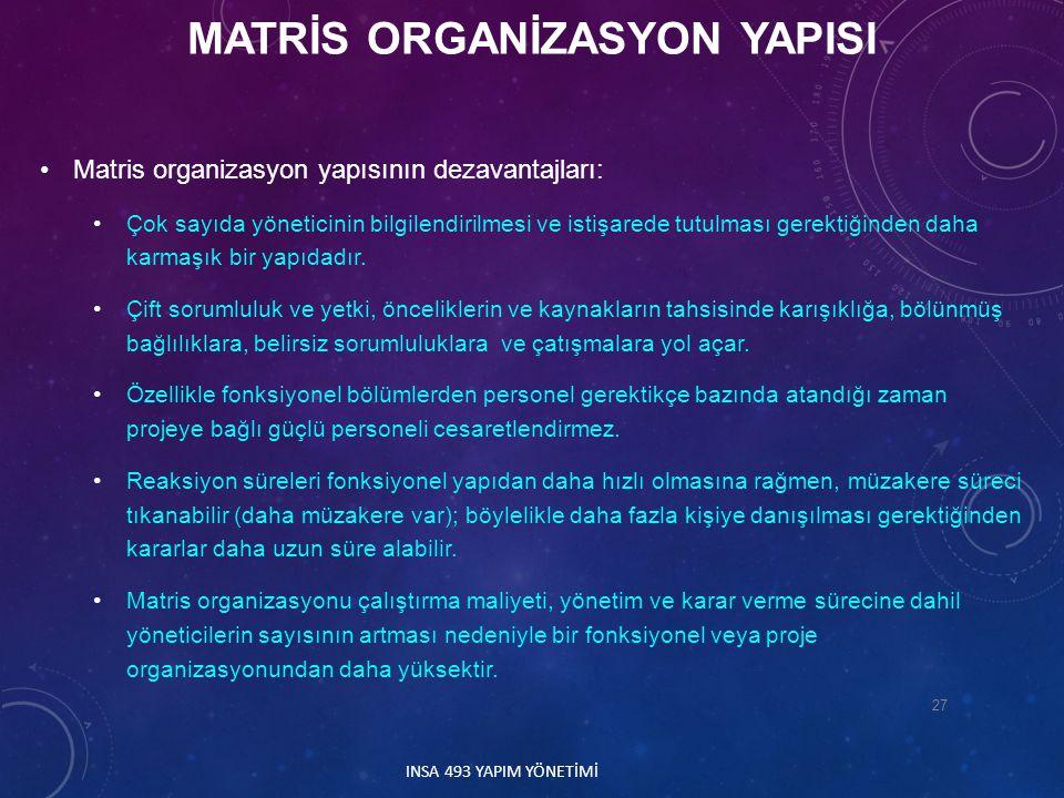 Matris organizasyon yapısının dezavantajları: Çok sayıda yöneticinin bilgilendirilmesi ve istişarede tutulması gerektiğinden daha karmaşık bir yapıdad