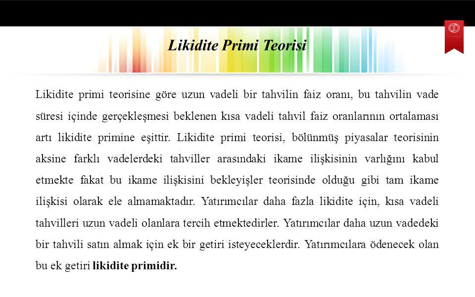 Likidite Primi Teorisi Likidite primi teorisine göre uzun vadeli bir tahvilin faiz oranı, bu tahvilin vade süresi içinde gerçekleşmesi beklenen kısa v