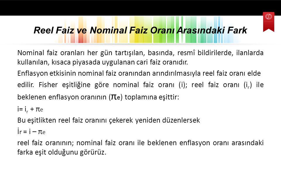 Reel Faiz ve Nominal Faiz Oranı Arasındaki Fark Nominal faiz oranları her gün tartışılan, basında, resmî bildirilerde, ilanlarda kullanılan, kısaca pi
