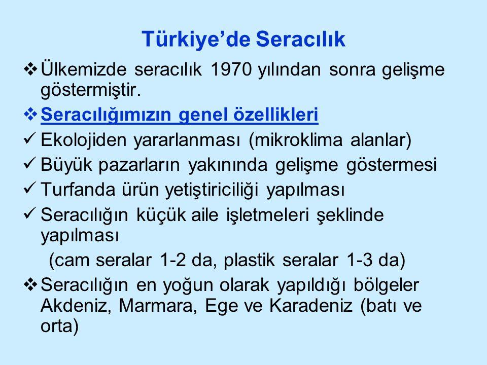 Türkiye'de Seracılık  Ülkemizde seracılık 1970 yılından sonra gelişme göstermiştir.  Seracılığımızın genel özellikleri Ekolojiden yararlanması (mikr