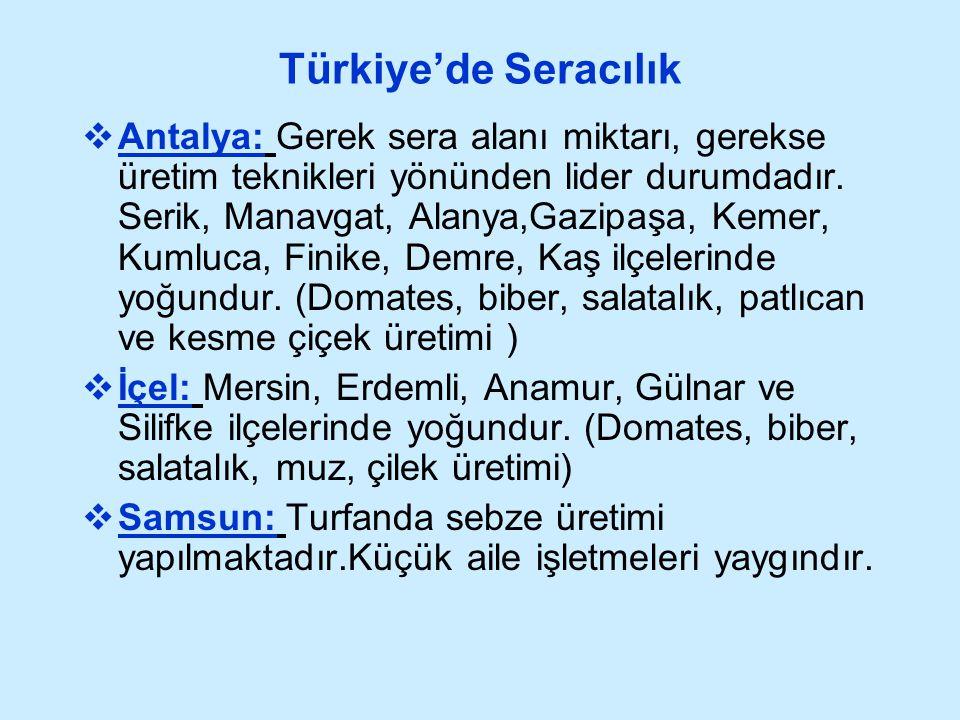 Türkiye'de Seracılık  Antalya: Gerek sera alanı miktarı, gerekse üretim teknikleri yönünden lider durumdadır. Serik, Manavgat, Alanya,Gazipaşa, Kemer