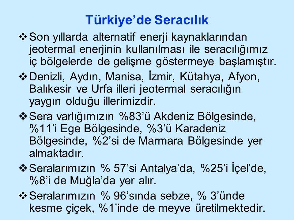 Türkiye'de Seracılık  Son yıllarda alternatif enerji kaynaklarından jeotermal enerjinin kullanılması ile seracılığımız iç bölgelerde de gelişme göste