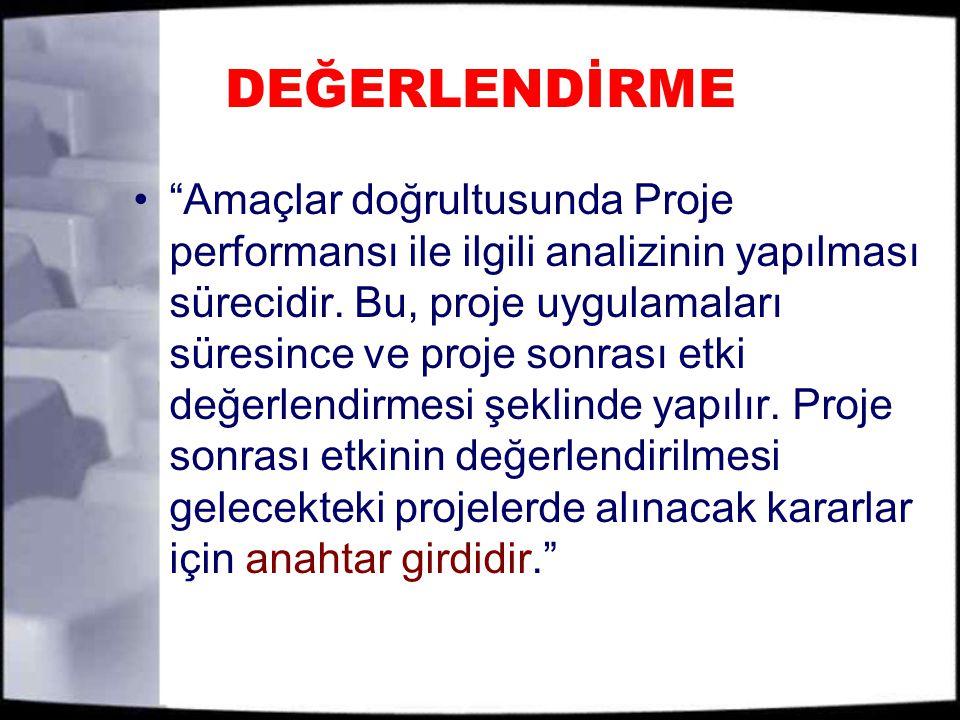 DEĞERLENDİRME Amaçlar doğrultusunda Proje performansı ile ilgili analizinin yapılması sürecidir.