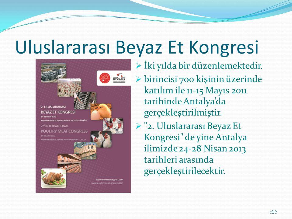 Uluslararası Beyaz Et Kongresi  İki yılda bir düzenlemektedir.  birincisi 700 kişinin üzerinde katılım ile 11-15 Mayıs 2011 tarihinde Antalya'da ger