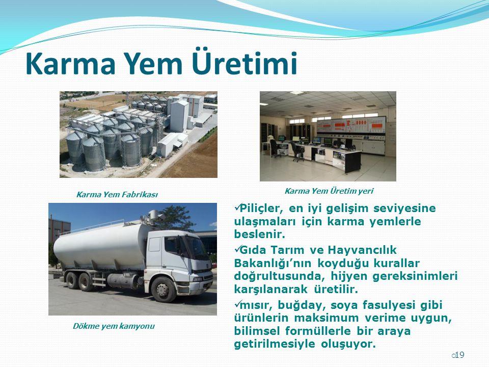 Karma Yem Üretimi  19 Karma Yem Fabrikası Karma Yem Üretim yeri Dökme yem kamyonu Piliçler, en iyi gelişim seviyesine ulaşmaları için karma yemlerle